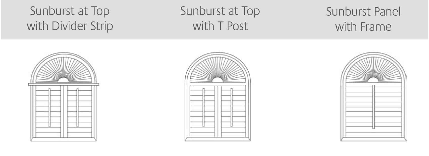 Sunburst at Top with Divider Strip, Sunburst at top with T Post & Sunburst Panel with Frame shutters