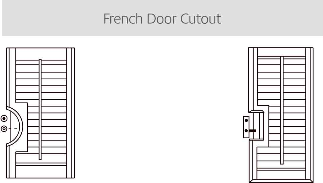 French door cutout shutters