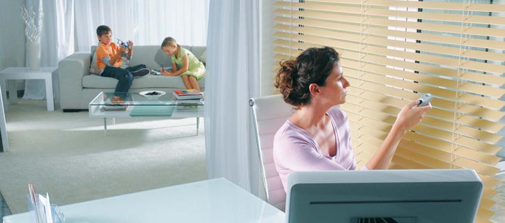 Home office electric blinds